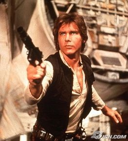 I think Harrison Ford demands kickass guns as part of his rider.